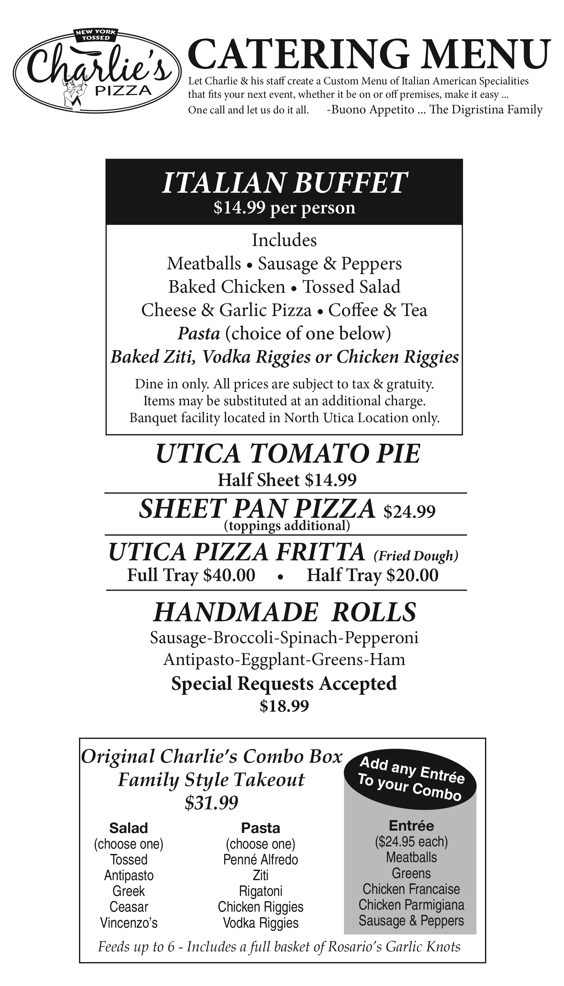 Charlie's Pizza Catering Menu | Charlie's Pizza
